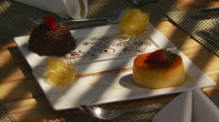 Delicious dessert served on restaurant Stock Footage