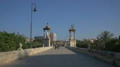 People walking on Puente del Mar in Valencia Stock Footage