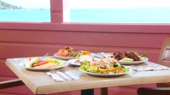 Delicious meal served in restaurant Stock Footage