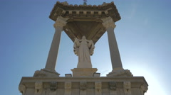 Statue surrounded by roman columns on the Puente Del Mar in Valencia Stock Footage