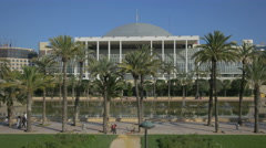 Palau de la Musica seen from Av Jacinto Benavente in Valencia Stock Footage