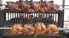 Roasting chickens wheel Stock Footage
