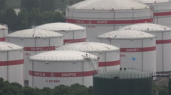 China petroleum, oil storage tanks Sinopec, corporate, industry, economy, import Stock Footage