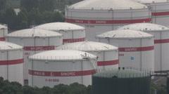 China petroleum, oil storage tanks Sinopec, corporate, industry, economy, import - stock footage