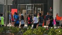 Spectators Cheer Participants in the LA Marathon   - stock footage