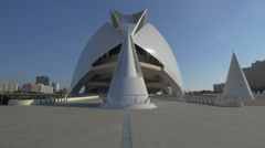 White cone next to the Queen Sofia Palace of the Arts in Valencia Stock Footage