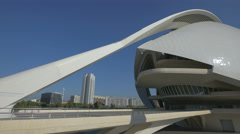 View of the Queen Sofia Palace of the Arts in Valencia Stock Footage