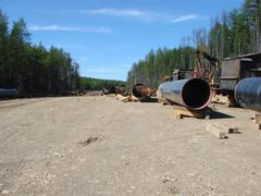 Construction of  gas pipeline on the ground Stock Photos