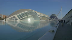 Great view of L'Hemisfèric in the City of Arts and Sciences in Valencia Stock Footage