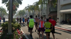 Racers Participate in the LA Marathon on Rodeo Drive Stock Footage
