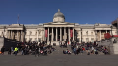 National Art Gallery Trafalgar Square London England 4K Stock Footage