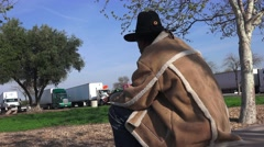 Truckers and truck rest stops, Black man at truck stop Stock Footage