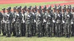 China military parade students university rifles commando weapons Asia Stock Footage