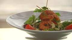 Prawns salad on dish Stock Footage
