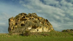 View of ancient rock formation in turkey Stock Footage