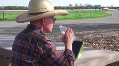 Truckers and truck rest stops Stock Footage