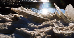Brilliant Sun Flare Close Ice and Rippling Reflection Creek 4K Stock Footage