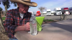 Truckers and truck rest stops, truck driver reading - stock footage