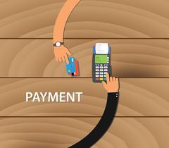 pay merchant payment debit credit card - stock illustration