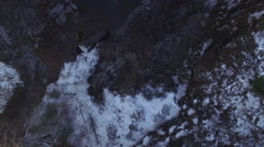 4k Aerial Snow Tennessee Waterfall 001 High Tilt Up Stock Footage