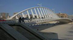 Stock Video Footage of View of the Alameda Bridge in Valencia