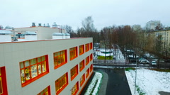 Aerial View of Moscow School New Building Stock Footage