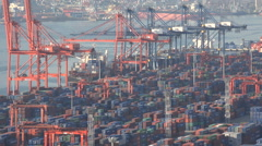 Container terminal of Busan port in South Korea - stock footage