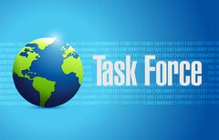 Stock Illustration of task force globe binary sign concept