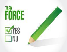 task force approval sign concept illustration - stock illustration