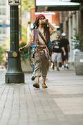 Man Dresses Like Pirate Captain Jack Sparrow For Atlanta Parade - stock photo