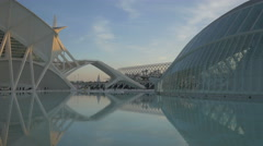 Amazing view of the famous City of Arts and Sciences in Valencia Stock Footage