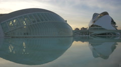 Amazing view of the City of Arts and Sciences in Valencia at sunset Stock Footage