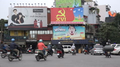 Communist Party banner, advertising billboard, politics, economy, Vietnam Stock Footage