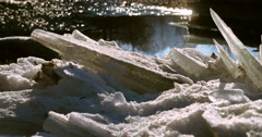 Jagged Shards of Uplifted River Ice and Sparkling Water Slide 4K Stock Footage