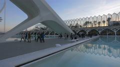 Passageway near the L'Umbracle in Valencia at dusk - stock footage