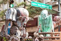 Science Fiction Creatures Scare People At Atlanta Dragon Con Parade Stock Photos