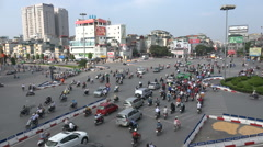 Traffic lights, busy intersection, junction, square, central Hanoi city, Vietnam Stock Footage