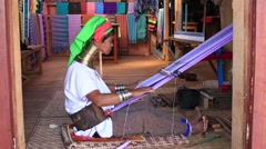 Portrait padaung tribe long-necked tribe woman. Inle lake, Myanmar, Burma Stock Footage