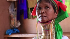 Portrait padaung tribe long-necked tribe woman. Inle lake, Myanmar, Burma Stock Footage
