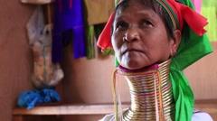 Portrait padaung tribe long-necked tribe woman. Inle lake, Myanmar, Burma - stock footage
