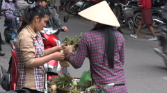 Local street vendor, bicycle, traditional conical bamboo hat, Hanoi, Vietnam Stock Footage