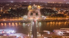 River and Car Traffic in Paris at night Stock Footage