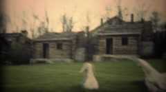 1936: Historic log cabin building construction pioneer community settlement.  Stock Footage