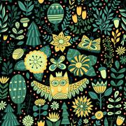 Vector forest design, floral seamless pattern Stock Illustration