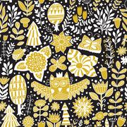 Vector forest design, floral seamless pattern - stock illustration