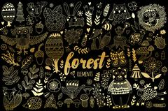 Vector forest elements in doodle childish style Stock Illustration