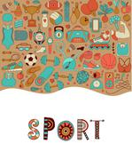 Stock Illustration of fitness and sport elements in doodle style