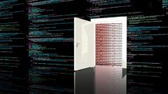 Door in a wall in a black room painted with computer code - stock illustration