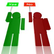 Two persons holding yes and no signs Stock Illustration