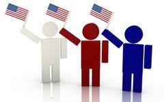 Three people waving the american flag render illustration Stock Illustration